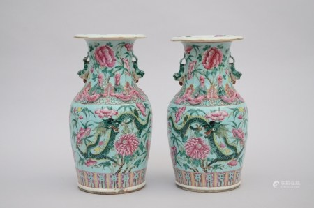 A pair of famille rose Canton vases 'dragons' (34cm)