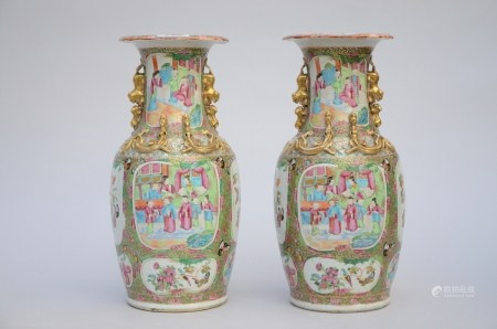 A pair vases in Chinese gilt Canton porcelain (*) (45cm)