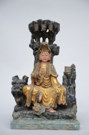 Chinese wooden polychromed sculpture 'guanyin' (48cm)