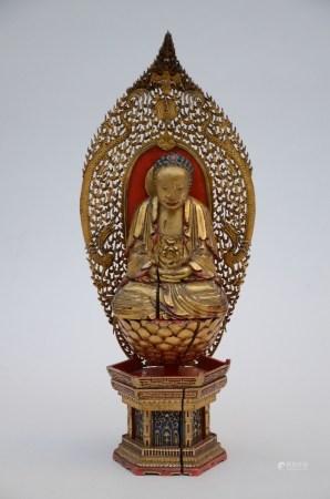 Gilt wooden Buddha on a base (*) (48cm)