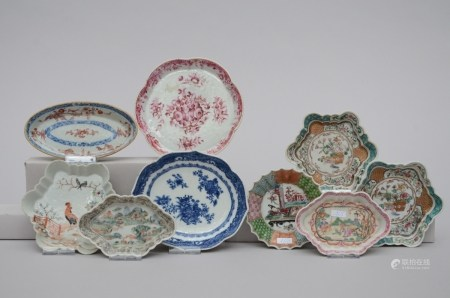 Lot: 9 dishes in Chinese porcelain, 18th century (12cm)