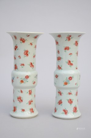 A pair of vases in Chinese porcelain 'flowers', marked (30cm)