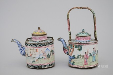 Two teapots in Chinese Canton enamel, 18th century (*) (11cm)