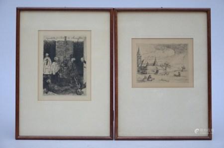Lot: 2 engravings (Ensor en Jacob Smits) (12x9cm)