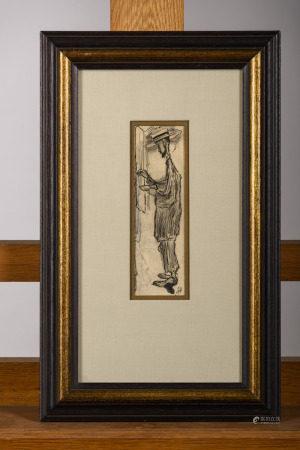 Jules De Bruycker: drawing 'portrait of an artist' (5x16cm)