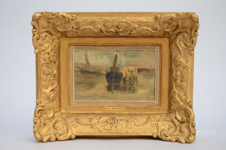 I.Opsomer: painting (o/p) 'marine' (23x14cm)