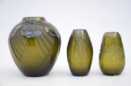 Lot: three glass vases by Legras (26cm)