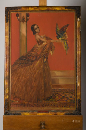 Karel Van Belle: painting (o/c) 'lady with a parrot' (62x89cm)
