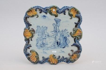 A plaque in Delft 'fishing', 18th century (29x29cm)