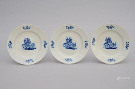 Three plates in Tournai porcelain 'Saint Michel', 18th century (24cm)