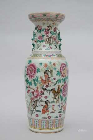 A large vase in Chinese famille rose porcelain 'birds' (*) (61cm)