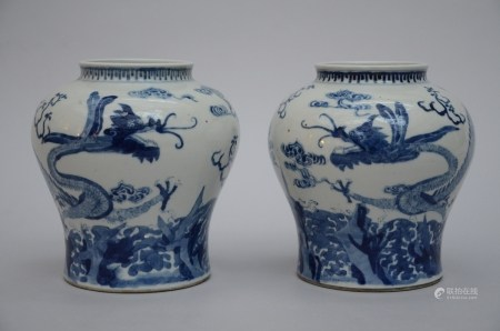 A pair of blue and white vases in Chinese porcelain 'dragons' (20cm)