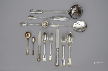 Part of a menu for 12 people in solid silver, Delheid