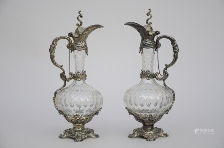A pair of cristal jugs with silverplated mounts (38cm)