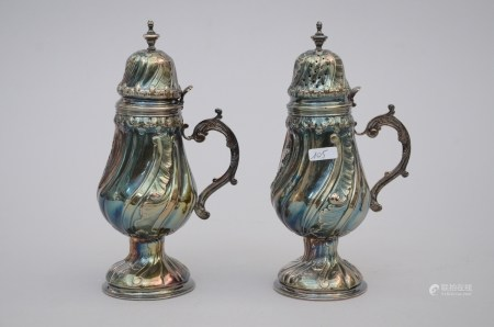 Pair of silver lidded pots in Louis XV style (20cm)