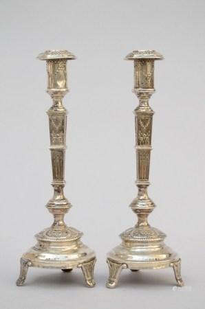 A pair of Louis XVI style candlesticks (*) (32cm)