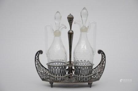 Empire oil and vinegar set in silver (12x26x27cm)