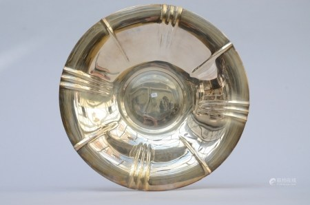 A round dish in silver, marked Wolfers (37cm)