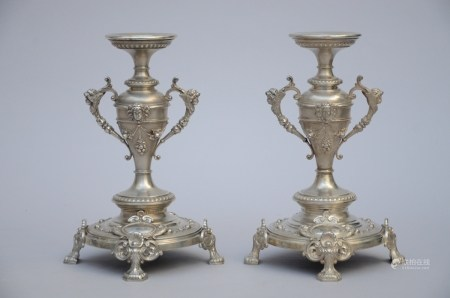 A pair of silver candlesticks (27cm)