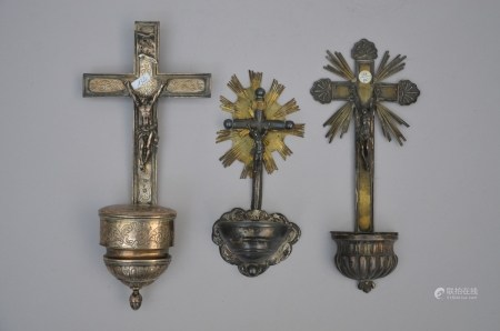 Lot: three silver holy water vessels (*) (28cm)