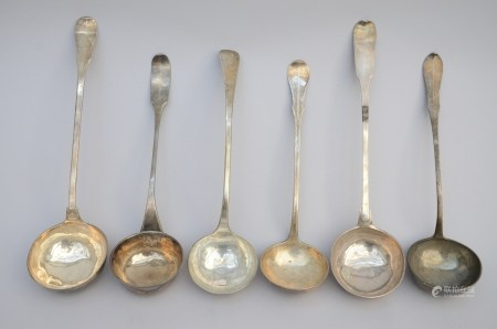 Lot: 6 large silver spoons, 18th century