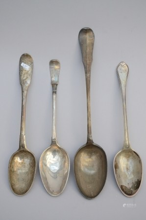 Lot: four large silver spoons, 18th century
