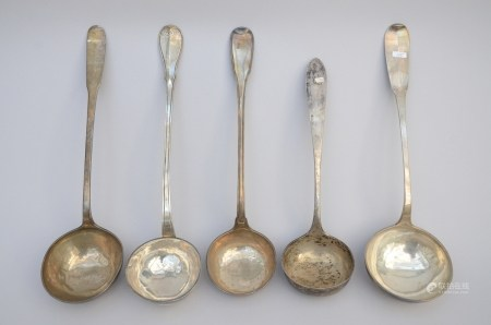 Lot: five silver spoons, 18th century