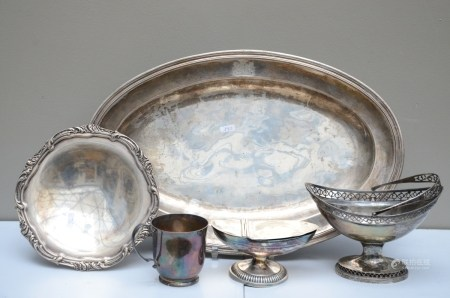 Lot: dish, basket and cream jar, plate and wine cup in silver