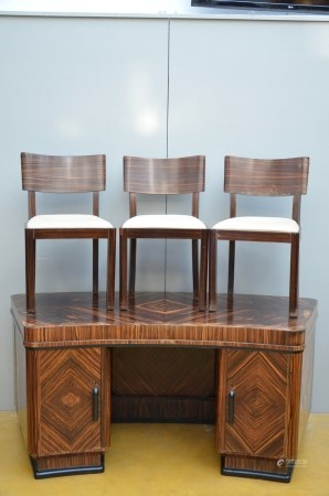 An art deco desk in maccasar with 3 matching chairs (*) (80x179x80cm)