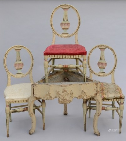 Lot: Louis XV corner jardiniËre + three chairs (*)