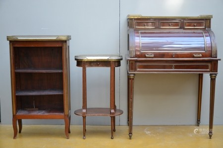 L XVI mahogany furniture: ecritoire, etagere and small table