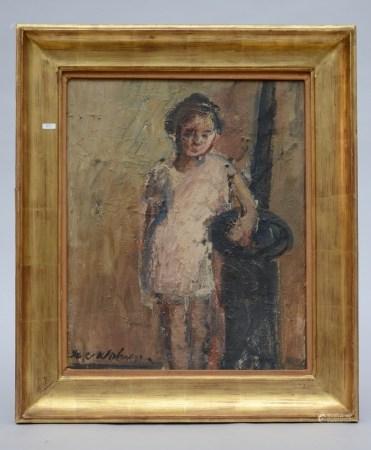 H. V. Wolvens: painting (o/c) 'girl' (46x38cm)