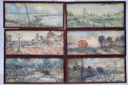 Arthur De Geest: lot of 32 watercolors about the First World War (47x20cm)