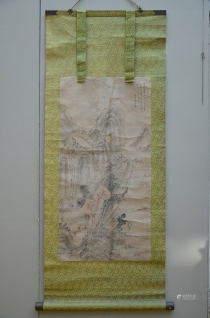A large Chinese scroll 'landscape' (*) (66x132cm)