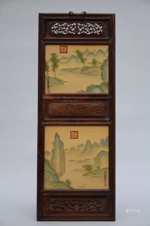 Chinese panel with two plaques in porcelain 'landscapes' (35x96cm)
