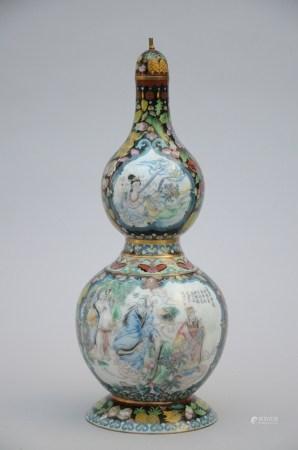 A double gourd vase in cloisonnÈ 'immortals' (46cm)
