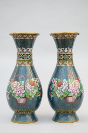 A pair of large cloisonÈ vases 'flower basket' (64cm)