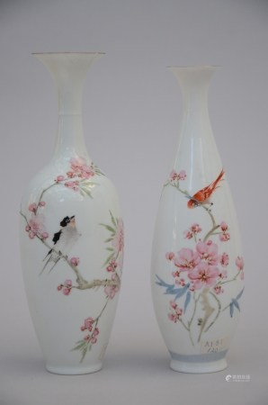 Two vases in eggshell porcelain 'birds', China (*) (20cm)