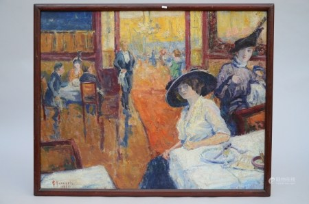 G. Bonneels (1913): painting (o/c) 'lady in a cafÈ' (93x74cm)