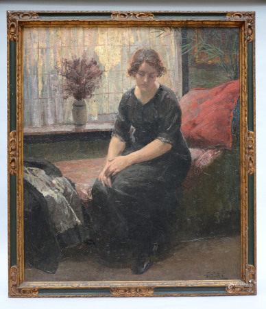 W. Van Riet (1921): painting (o/p) 'lady in an interior' (105x90cm)