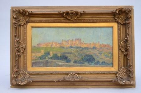 Ferdinand Willaert: painting (o/c) 'city view' (51x25cm)