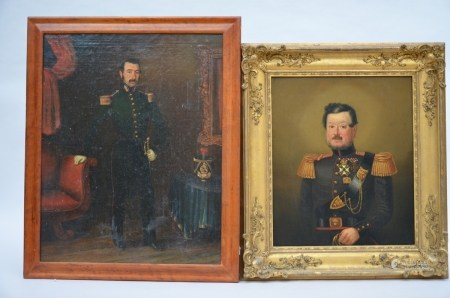 Lot: two paintings 'portraits of soldiers' (*) (39x47cm)