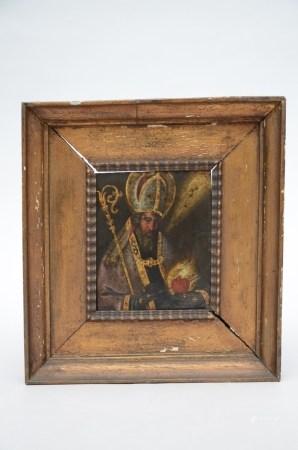 Anonymous: painting (o/c) 'Augustinus' (13x16cm)