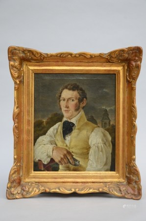 Anonymous (19th century): painting (o/c) 'portrait of a man' (34x41cm)