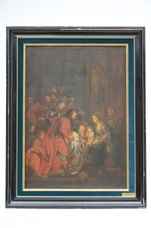 Anonymous: painting (o/p) 'Adoration of the Magi' (48x67cm)