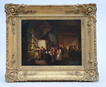 H. Carpentero (1858): painting (o/p) 'scene of an inn' (50x39cm)
