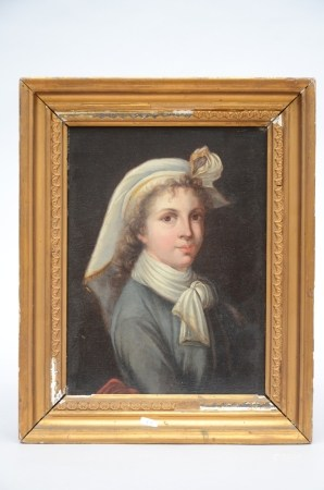 Anonymous (19th century): painting (o/c) 'portrait of a girl' (24x30cm)