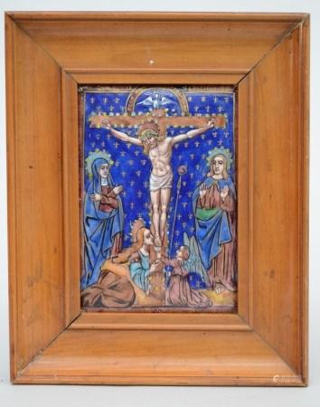 Plaque Limoges enamel 'lamentation' (11x16cm)