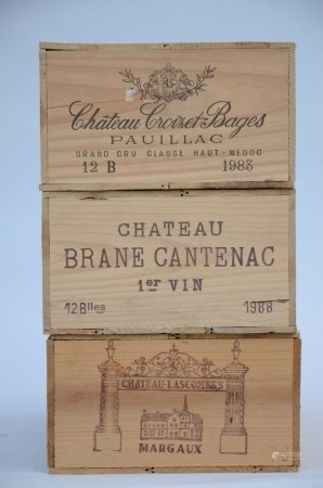 3 crates of wine with 12 bottles: Brane Cantenac 1988, Chateau Lascombes 1976, Chateau Croizet-Bages