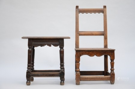 Lot: chair of a beguin and tabouret (49cm)
